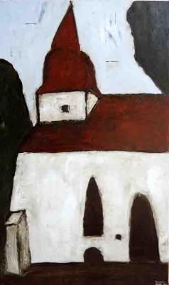 Die Dorfkirche von Zemmin, dem Geburtsort von Berthold Beitz, gemalt von Alexander Dettmar im August 2013