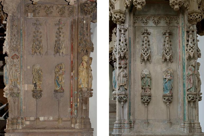 Ausschnitt des Sakramentenhauses vor der Reinigung (l.), hier sind Untersuchungsschnitte der 1980er-Jahre und Reinigungs-proben von 2014 zu erkennen, und nach der Restaurierung. Foto: LWL/Nieland