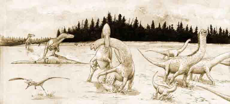 Panorama der späten Jurazeit der heutigen Harzregion: Große, etwa acht Meter lange räuberische Theropoden stellen einer Herde der pflanzenfressenden Zwerg-Dinosaurier Europasaurus nach. (c) Zeichnung: Joschua Knüppe/2015